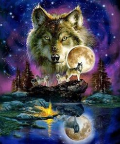 Beautiful Wolf And Moon Paint by numbers