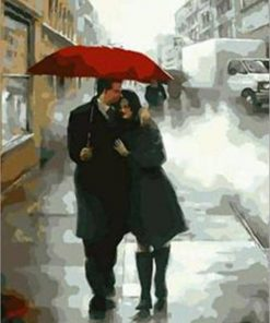 Couple In The Rain Paint by numbers