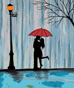 Couple Kissing In The Rain Paint by numbers