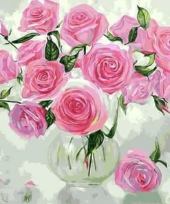 Pink Peony Roses Paint by numbers
