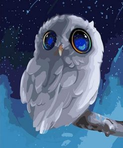 Little Blue Eyes Owl Paint by numbers