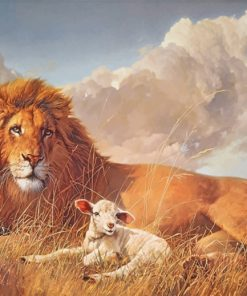 Aesthetic Lion And Lamb Paint by numbers