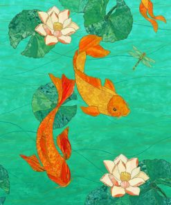 Lotus And Koi Fish Paint by numbers