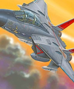 Flying F14 Airplane paint by numbers