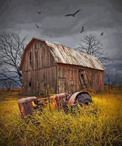 Old Wood Barn paint by numbers