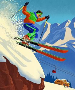 80's Skier Paint by numbers