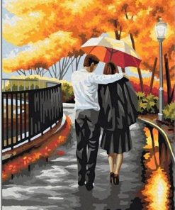 Couple Walking with Umbrella Piant by numbers