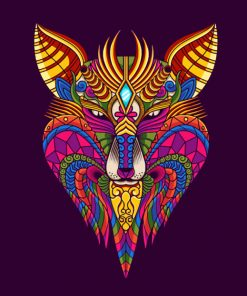Mandala Colorful Wolf paint by numbers