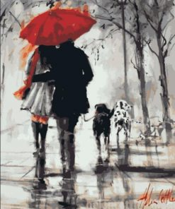 Walking In The Rain Lover paint by numbers