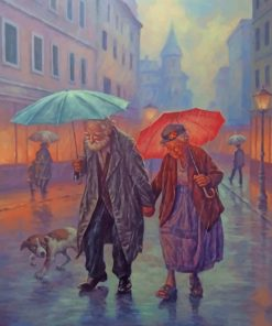 Old Couple In The Rain Old Couple In The Rain paint by numbers