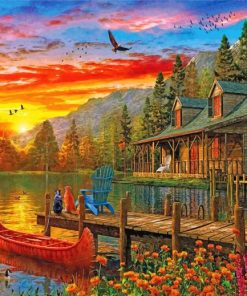 Cabin Evening Sunset paint by nummbers