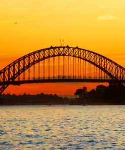 Sydney Harbour Bridge Silhouette Sunset paint by numbers
