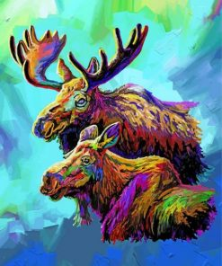 Colorful Moose And Baby
