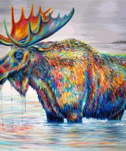 Colorful-Moose-In-Pond-paint-by-number