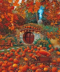 hobbit-hole-and-pumpkines-paint-by-numbers