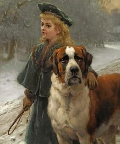 vintage-girl-and-saint-bernard-dog-paint-by-numbers