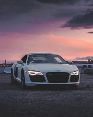 white-audi-r8-paint-by-number