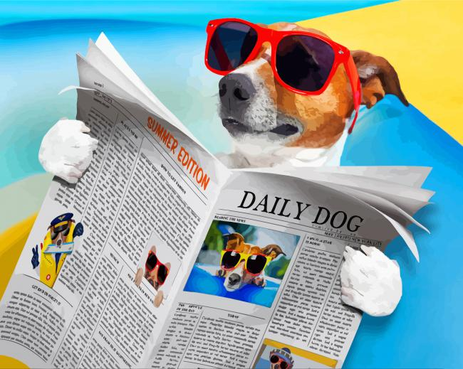 Dog Reading Newspaper - Paint By Number - NumPaint - Paint by numbers