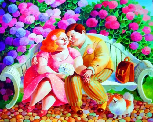 Fat Couple In Love paint by numbers