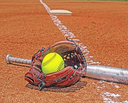 Softball Equipment paint by numbers