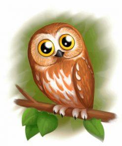 Cute Brown Owl paint by numbers