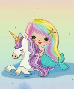 cute-mermaid--and-unicorn-paint-by-numbers