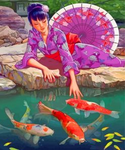Japanese Woman And Koi Fishes paint by numbers