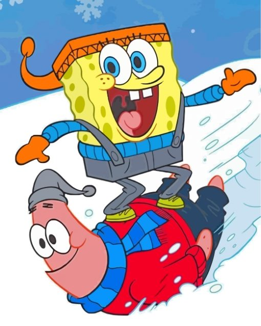 spongebob-and-patrick-enjoying-the-snow-paint-by-numbers