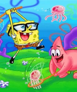 spongebob-and-patrick-jellyfishing-paint-by-numbers
